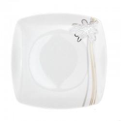Assiette plate carrée 20 cm Songe d'Automne (24 cm diag) en porcelaine