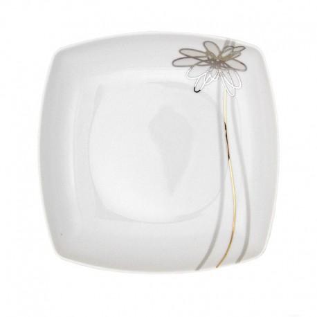 Assiette creuse carrée 20,5 cm (24,5 cm diag) Songe d'Automne en porcelaine
