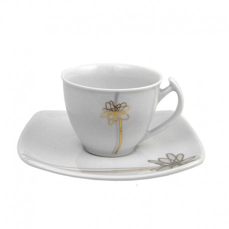 Tasse à café 90 ml avec soucoupe Songe d'Automne en porcelaine
