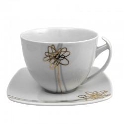 Tasse à thé 400 ml avec soucoupe Songe d'Automne en porcelaine blanche
