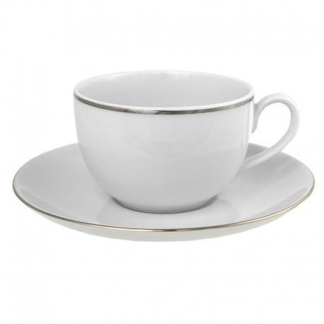 Tasse à thé 200 ml avec soucoupe ronde L'amoureuse en porcelaine