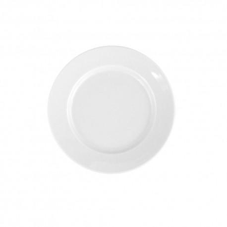 Assiette 17 cm plate ronde à aile Révérence Nivéenne en porcelaine blanche