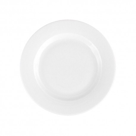 Assiette 21 cm plate ronde à aile Révérence Nivéenne en porcelaine blanche