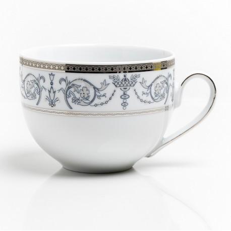 art de la table, service de table complet en porcelaine blanche, vaisselle galon platine, tasse petit déjeuner