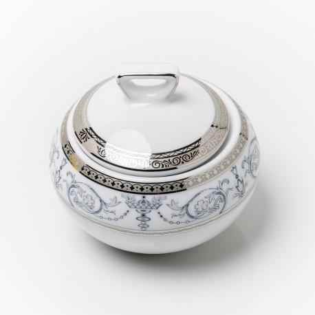 service de table en porcelaine blanche, vaisselle galon platine, sucrier