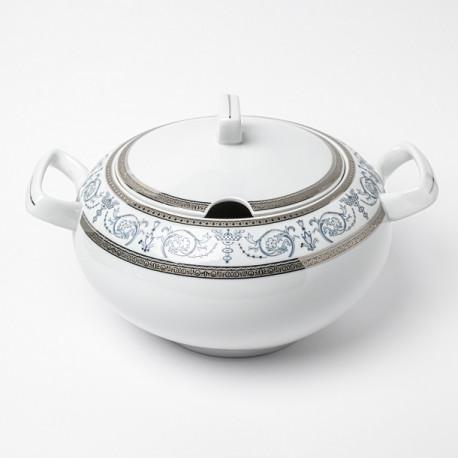 art de la table, service de table complet en porcelaine blanche, vaisselle galon platine, soupière