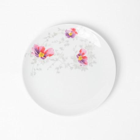 Assiette plate ronde 20.5 cm Brume du Cosmos en porcelaine