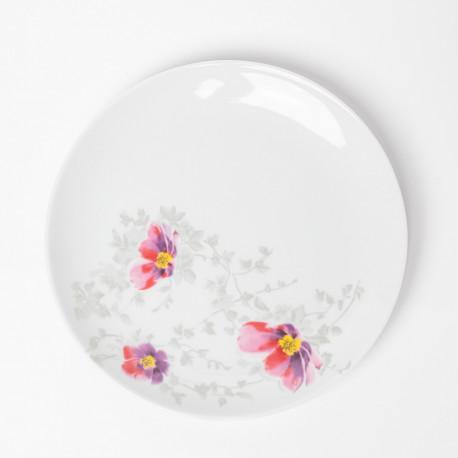Assiette plate 24 cm Brume de Cosmos en porcelaine