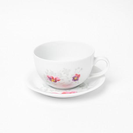 Tasse petit déjeuner 400 ml avec soucoupe Brume de Cosmos en porcelaine