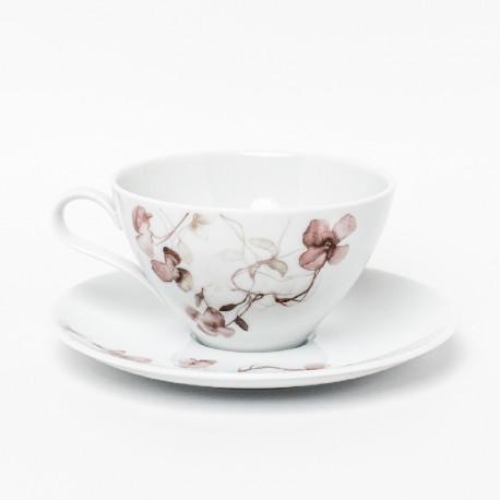 Tasse à thé 280 ml avec soucoupe ronde Passion d'Antan en porcelaine