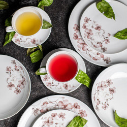 Service de table 30 pcs en porcelaine fine blanche décorée Passion d'Antan