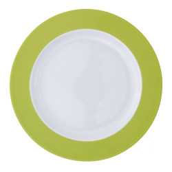Plat rond à aile 32 cm en porcelaine blanche à aile colorée Coloris vert pomme