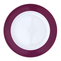 Plat rond à aile 32 cm en porcelaine blanche à aile colorée Coloris prune