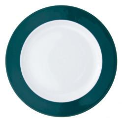 Plat rond à aile 32 cm en porcelaine blanche à aile colorée Coloris vert d'eau