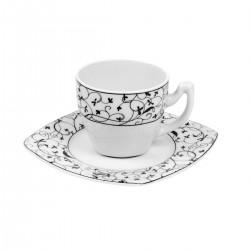 Tasse à café 100 ml soucoupe carrée Fleur de Pommier en porcelaine
