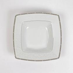 Assiette creuse carrée 21,5 cm Iris en porcelaine