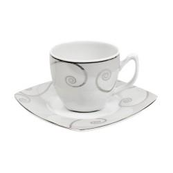 Tasse à thé 200 ml avec soucoupe carrée Lavande en porcelaine