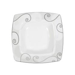 Assiette creuse carrée 21,5 cm Lavande en porcelaine