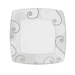 Assiette plate carrée 25,7 cm Lavande en porcelaine
