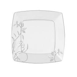 Assiette plate carrée 25,7 cm Camélia en porcelaine fine blanche