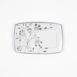 Plat rectangulaire 22 cm Céanothe en porcelaine fine blanche