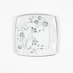 Assiette plate carrée 21 cm Céanothe en porcelaine fine blanche