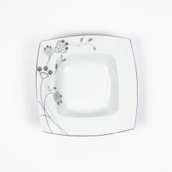 Assiette creuse carrée 21,5 cm Céanothe en porcelaine fine blanche