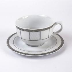 Tasse à thé 0,25 l avec soucoupe Vague de neige en porcelaine