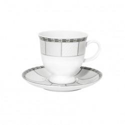 Tasse à café 100 ml avec soucoupe 13 cm Vague de neige en porcelaine