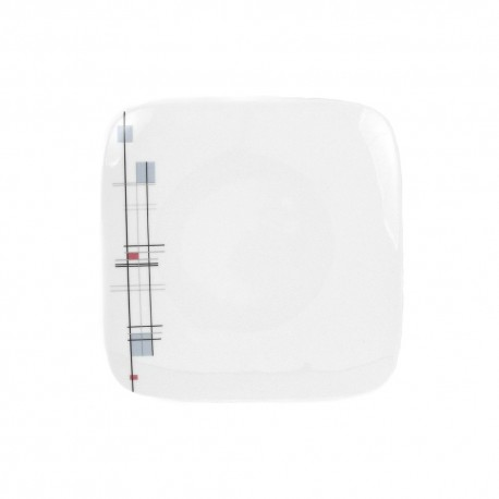 Assiette plate carrée 23 cm Edelweiss en porcelaine
