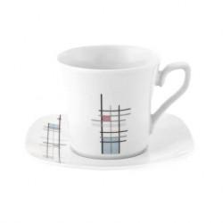 Tasse à thé 220 ml avec soucoupe carrée Edelweiss en porcelaine