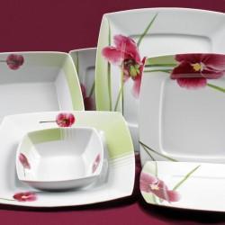 services de vaisselle en porcelaine blanche carr e tasse assiette. Black Bedroom Furniture Sets. Home Design Ideas